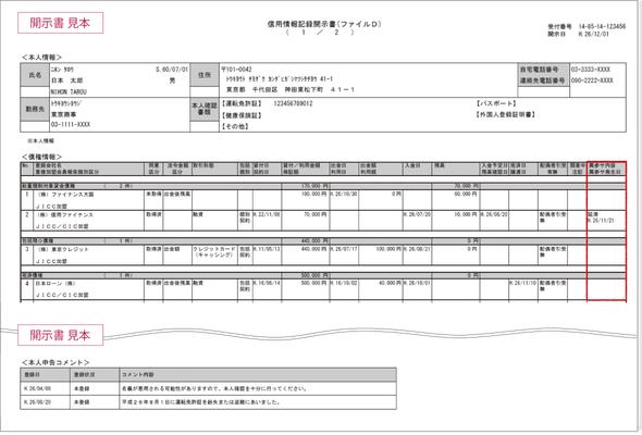 「信用情報記録開示書(ファイルD)」JICCの場合
