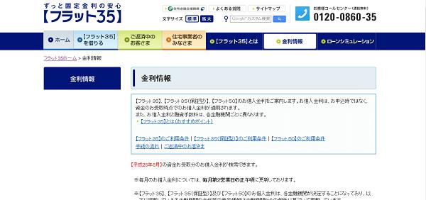 フラット35の公式ホームページ「金利情報」
