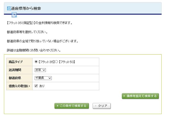 フラット35の公式ホームページ「都道府県等から検索」