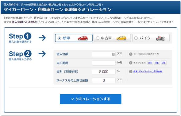 価格.com「マイカーローン・自動車ローン 返済額シミュレーション」