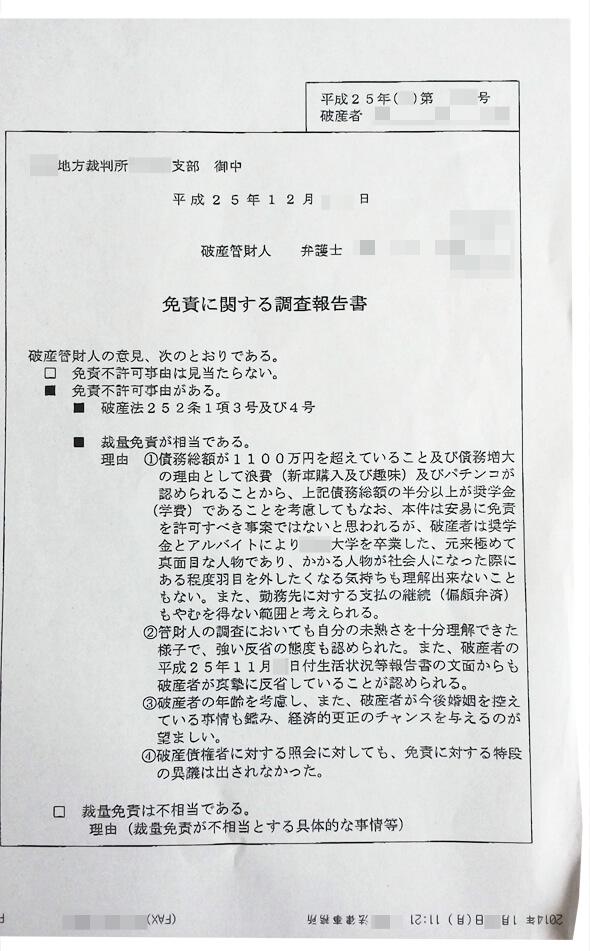 免責に関する調査報告書