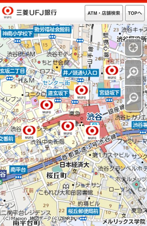 三菱UFJ銀行カードローンテレビ窓口の店舗地図