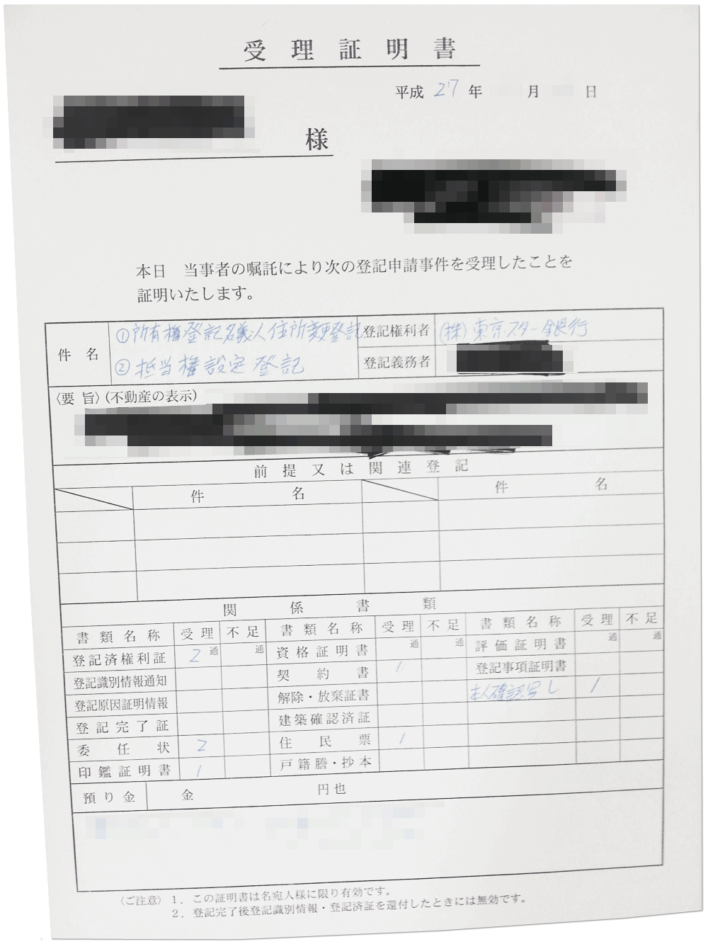 スター不動産担保ローンの契約書の控え(実物)