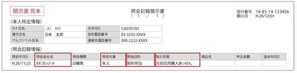 「照会記録開示書」の<照会記録情報>JICCの場合
