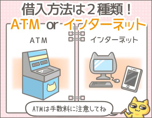 借入方法は2種類!ATM or インターネット