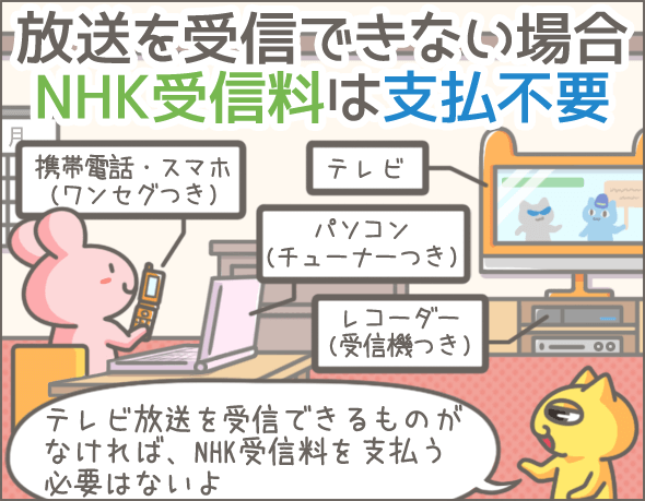 放送を受信できない場合NHK受信料は支払不要
