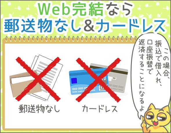Web完結なら郵送物なし&カードレス